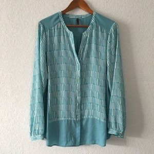 NYDJ Button Down Geometric Tunic Blouse Top